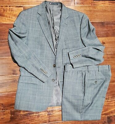 Hart Schaffner Marx Gray Plaid 100% Imported Wool Suit Men's 44R (Made in USA)