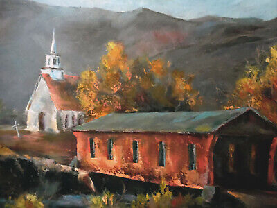 """OIL ON BOARD- Framed Painting by Dale Armstrong """"Covered Bridge Study""""-33 x 27"""
