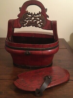 Antique Chinese Lacquer Wooden Rice Bucket Wedding Food Box Handle Basket Ornate