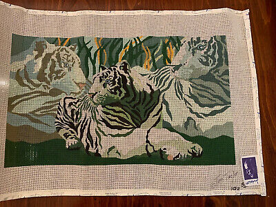 "Hand Painted Needlepoint Canvas Tiger Tom Taylor 17"" X 10"""