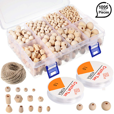 1095 Pieces Wooden Beads Natural Round Wood Balls Unfinished Spacer Loose Beads