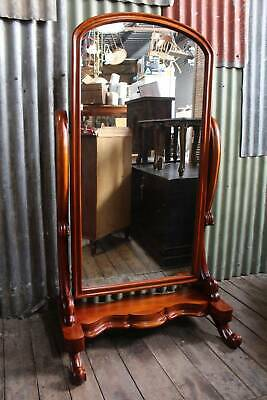A French Influenced Victorian Mahogany Cheval Mirror 157cm high