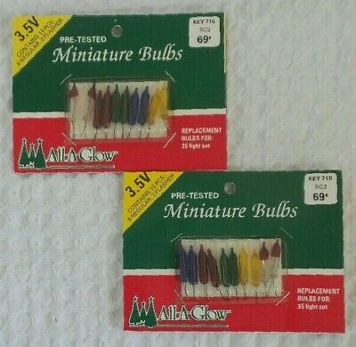 Vintage Replacement Christmas MINIATURE BULBS 3.5V For 35 Light Set 2 Packages