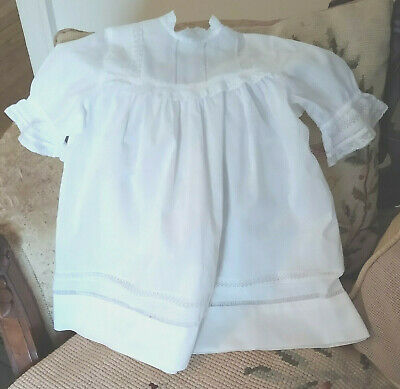 19th Century White Cotton Infant Dress Insertion Lace Drawn Thread Work 1890's