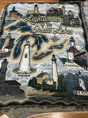Lighthouses Of The GREAT LAKES Tapestry Afghan Throw Blanket 67x50