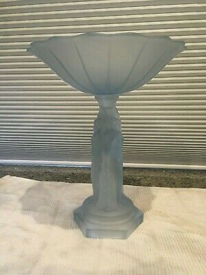 Art deco Glass  Beautiful Complete Art Deco Blue Frosted 3 sisters comport