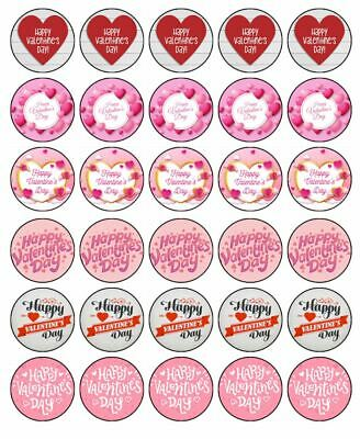 Valentines Day 30 Edible Wafer Paper Cupcake Toppers Cake Decorations #1