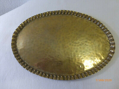 antikes Messing Tablett oval Hammerschlag ART DECO Servierplatte, Zierrand