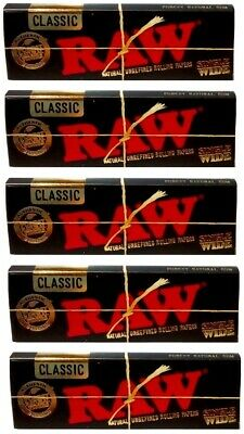 Raw Black Classic Single Wide Smoking Cigarette Tobacco Rolling Papers 5 Pack