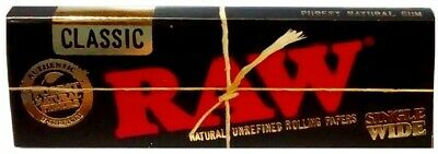 Raw Black Classic Single Wide Smoking Cigarette Tobacco Rolling Papers 1 Pack