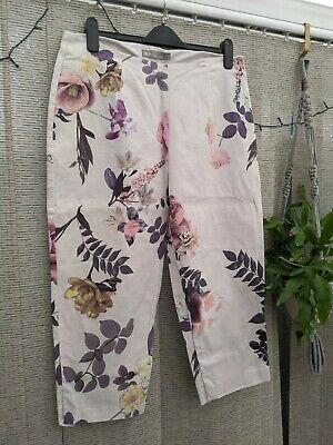 Lovely Asos Floral Print High Waisted Wide Leg Cropped Trouser UK 16