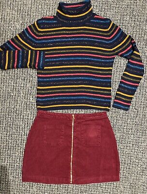 M&S burgandy Girls skirt and stripe polo neck jumper 11-12 years/worn once (86)