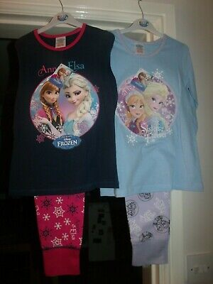 2 x Girls Disney Frozen Pyjamas 7-8 Years
