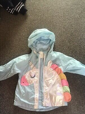 Girls Next Unicorn Rain Coat Jacket Age 2-3