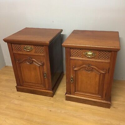 Antique Pair Of Walnut Bedside Cabinets