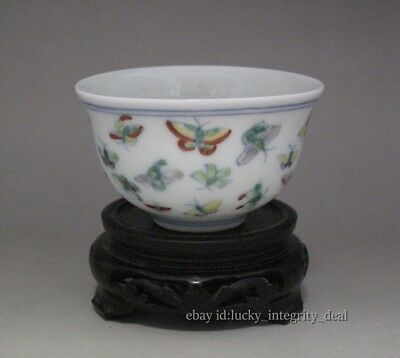 Chinese Old Dou-cai Butterfly Porcelain teacup Cup Mark