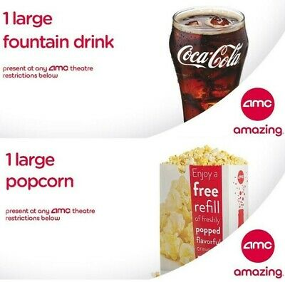 AMC theatres 1 large drink & 1 large popcorn vouchers E-Delivery - exp 6/30/2020