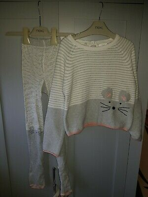 Next Girl Age 5-6 Mouse Jumper And Tights Set