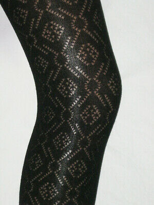 Girls Black Cotton Feel Tights. Age 9-10 Opaque Patterned