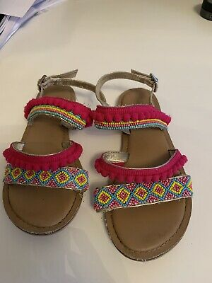 Beautiful Monsoon girls summer bead and pom pom trim woven gold sandals size 13