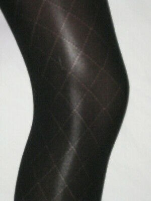 2x Girls Black Diamond Tights. Age 10-12 Opaque smart