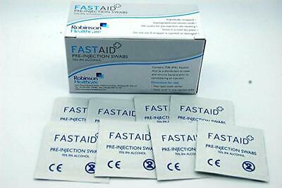 100 FastAid IPA 70% Isopropyl Alcohol Wipes Swabs Cleans Hearing Aids CPU Inject