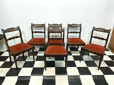 Set of 6x antique Victorian oak dining chairs with carved backs on turned legs
