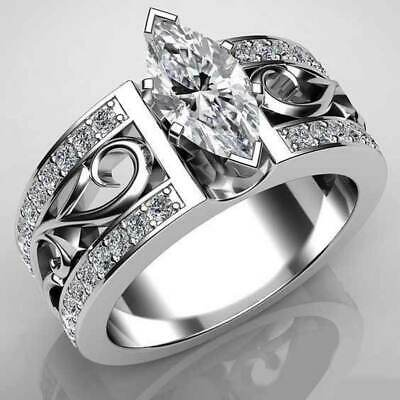 Marquise Cut 925 Silver Wedding Rings Cubic Zirconia Engagement Ring Size 8
