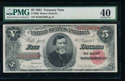 AC Fr 364 1891 $5 Treasury Coin Note PMG 40