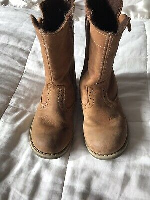 Girls John Lewis Browm Leather Boots Shoes Size Eur 27 UK9-9.5