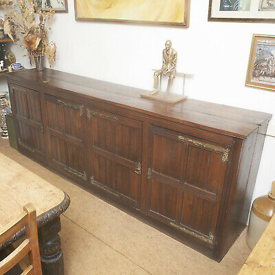 Large Antique Arts And Crafts Carved Sideboard