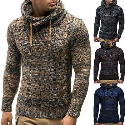 Mens Knit Hooded Long Sleeve Jumper Classic Pullover Casual Sweater Winter Coat