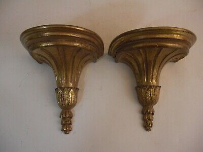 Rare Finely Carved Pair Italian Wood Wall Bracket Shelf Gilt Grand Tour Style