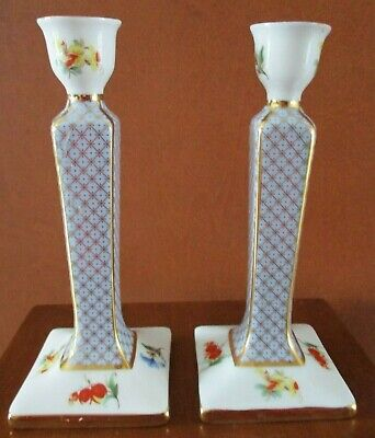Vintage Past Times Finest Porcelain Pair  Candlesticks