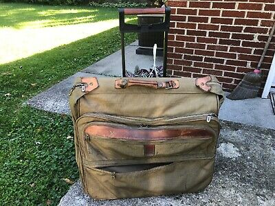 VTG Hartmann Luggage Rolling Leather & Tweed Garment Travel Bag Suitcase AS IS