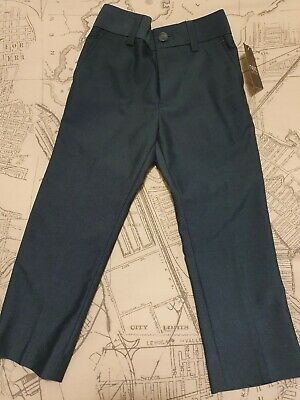 Next Boys Tailored Trousers blue/green Bnwt 4 Years