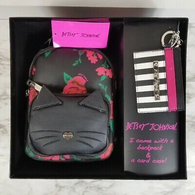 Betsey Johnson NWT in Box Floral Cat Mini Backpack and Card Case
