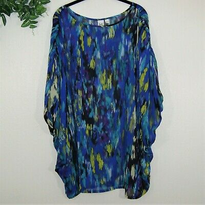 M by Marc Bouwer Blue Teal Sheer Oversized Tunic Cover-up* Size L