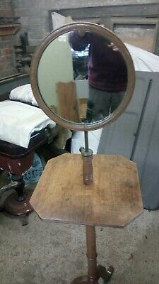 Gents , ladies adjustable oak and brass mirror stand ,early 20th century