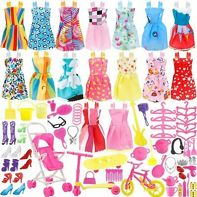 101 Pcs Barbie Doll Clothes Gown Outfits Accessories Girl Gift Huge Lot Party