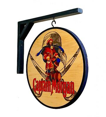 CAPTAIN MORGAN RUM,  2 SIDED PUB SIGN, 15 in.  DIAMETER INCLUDES WOODEN BRACKET