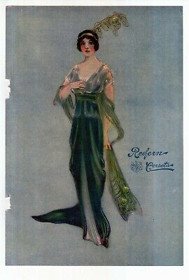 "Antique 1912 ""Redfern Corsets"" Antique Flapper Art Color Print Ad"