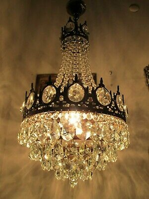 Antique Vnt French  french basket style Crystal Chandelier Lamp 1940's 14in Dmt*
