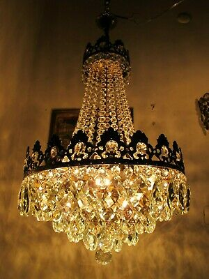 "Antique French Gigantic Bohemia Crystal Chandelier Ceiling Lamp 1940's 16"" Dmtr."