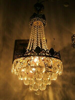 Antique Vnt French  french basket style Crystal Chandelier Lamp 1940's 12in Dmt,