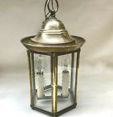 Vintage French Brass & Etched Glass Hexagon Shape Hallway Porch Large Light