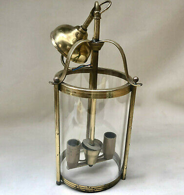 Vintage French Glass Cylinder Hallway Porch Electric Ceiling Light, Brass Trims