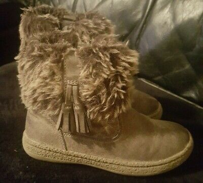 Girls Boots Infant Size UK 10 Brown Faux Fur George