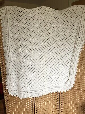 "TRADITIONAL White HAND KNIT Baby Shawl Wrap Blanket LACY PATTERN 55"" x 45"""