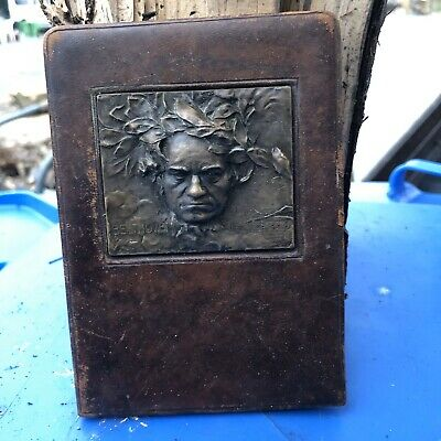Franz Stiasny. Beethoven. Bronze Medal Plaque In A Leather Frame